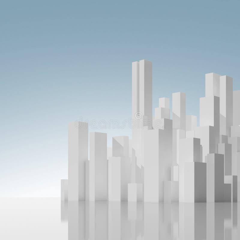 Abstrakcjonistyczny miasta linia horyzontu pod niebieskim niebem royalty ilustracja