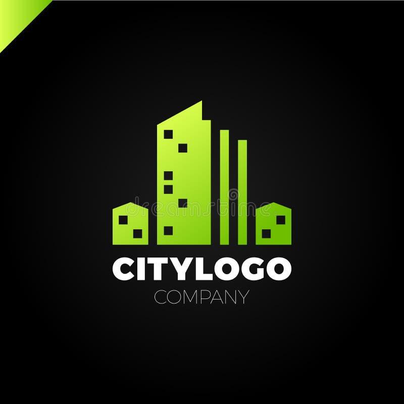 Abstrakcjonistyczny miasto budynku loga projekta pojęcie Symbol ikona mieszkaniowy, mieszkanie i miasto krajobraz, ilustracja wektor
