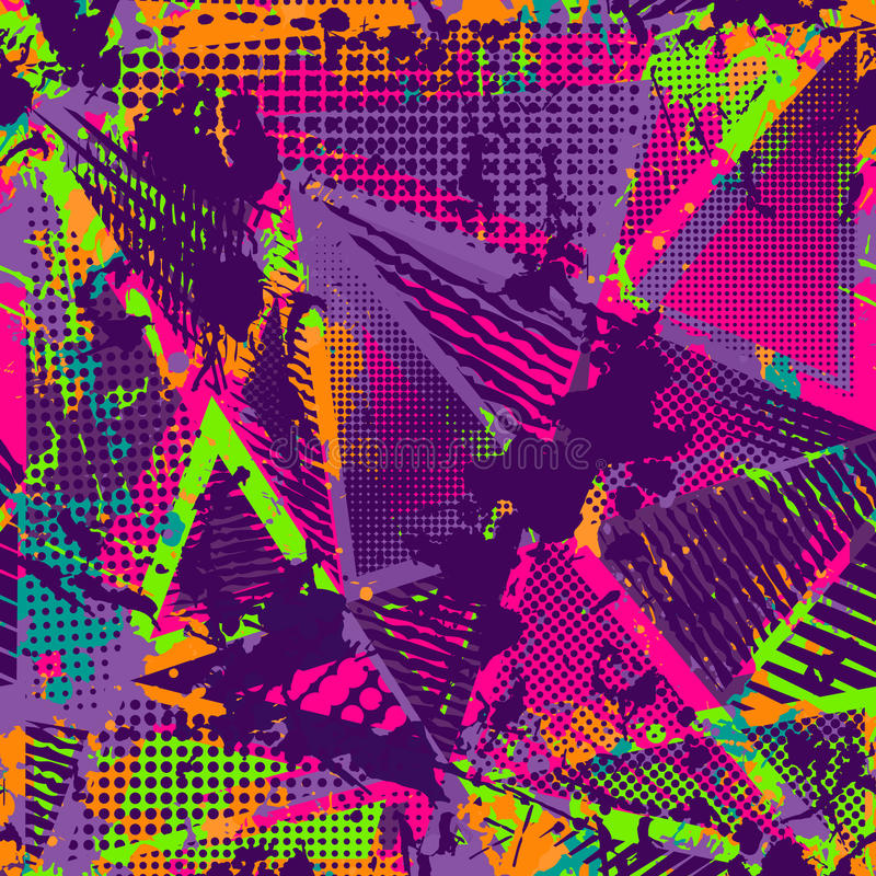 Abstrakcjonistyczny miastowy bezszwowy wzór Grunge tekstury tło Scuffed opadowy rozpyla, trójboki, kropki, neonowa kiści farba royalty ilustracja
