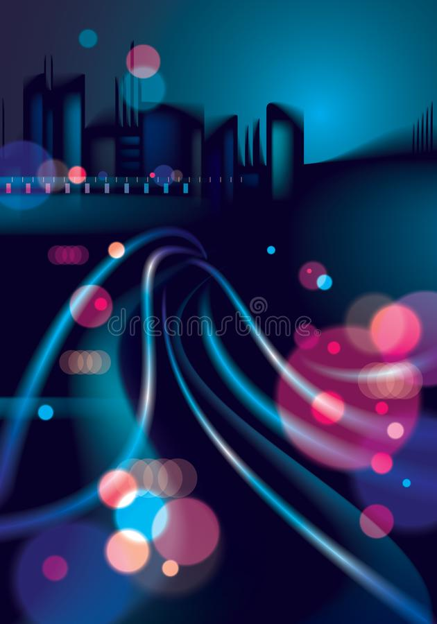 Abstrakcjonistyczny miastowy nocy światła bokeh, defocused tło skutek ilustracji