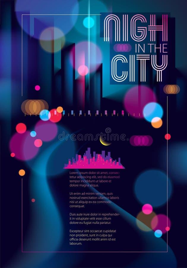 Abstrakcjonistyczny miastowy nocy światła bokeh, defocused tło Skutka wektorowy piękny tło Plamy kolorowy ciemny tło z ilustracja wektor