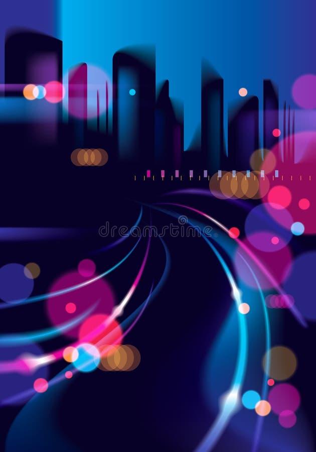 Abstrakcjonistyczny miastowy nocy światła bokeh, defocused tło Skutka wektorowy piękny tło Plamy kolorowy ciemny tło z royalty ilustracja
