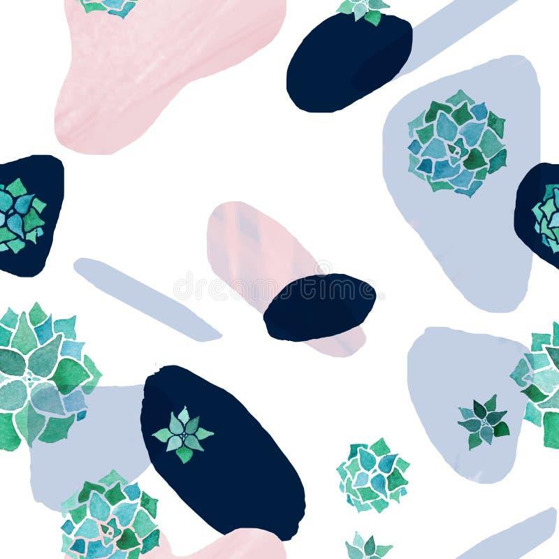 Abstrakcjonistyczny minimalistyczny bezszwowy wzór Pastelu róży, błękita i czerni plamy z akwareli echeveria roślinami na bielu, ilustracja wektor