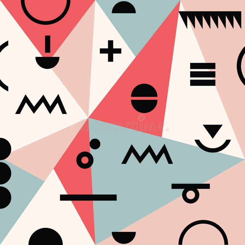 Abstrakcjonistyczny minimalny geometrical nowożytny Memphis tła materialny wzór ilustracja wektor