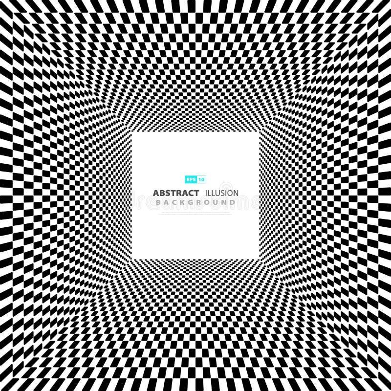 Abstrakcjonistyczny minimalny kwadratowy czarny i biały złudzenia tło z przestrzenią tekst Ilustracyjny wektor eps10 ilustracji