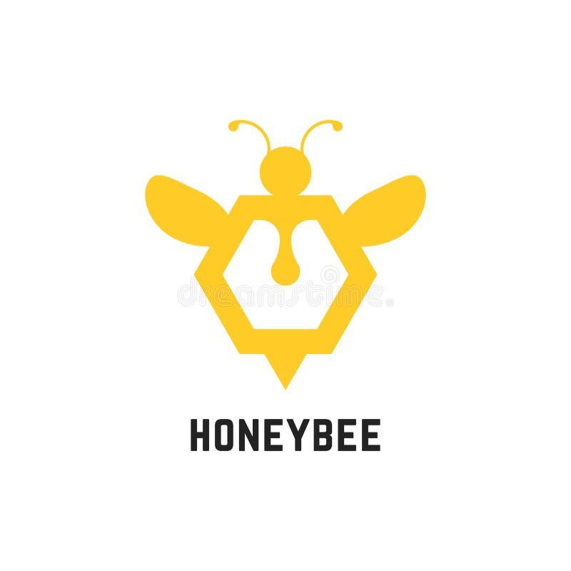 Abstrakcjonistyczny miodowy pszczoła znak ilustracja wektor