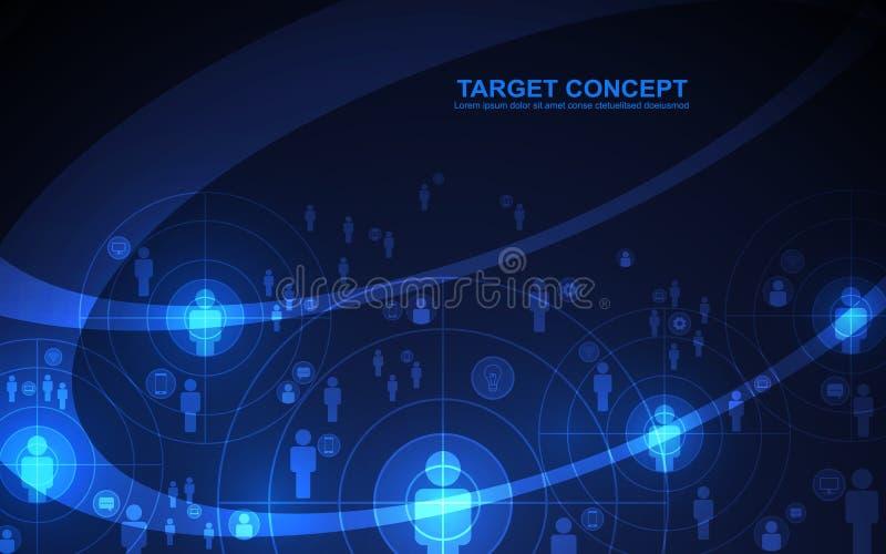 Abstrakcjonistyczny mknący cel widowni szablon, technologii cyfrowej futurystyczny pojęcie ilustracji