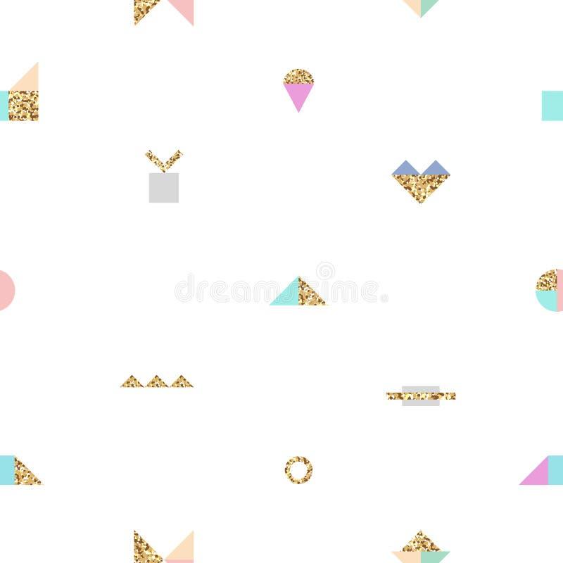 Abstrakcjonistyczny modny bezszwowy wzór z różnymi geometrycznymi kształtami z złocistą teksturą fotografia royalty free
