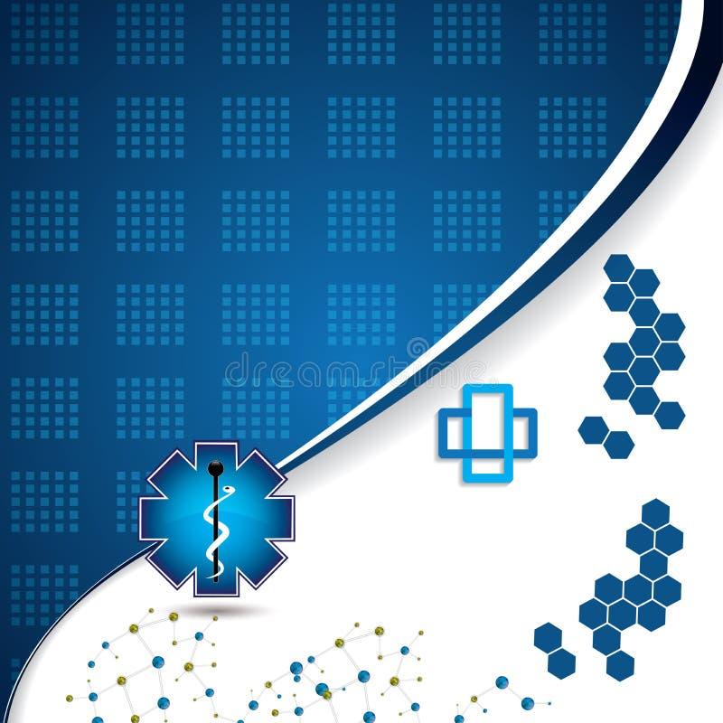 Abstrakcjonistyczny molekuły błękit barwi tło royalty ilustracja