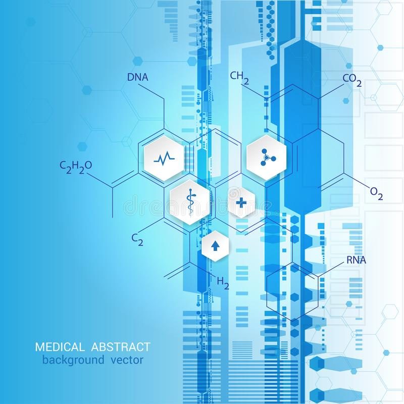 Abstrakcjonistyczny molekuły medycznego tła pojęcia szablonu projekt Ve royalty ilustracja