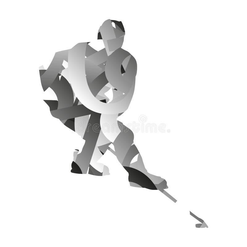 Abstrakcjonistyczny monochromatic lodowy gracz w hokeja ilustracja wektor