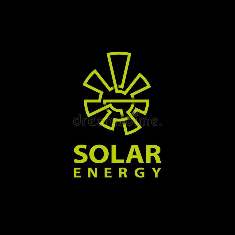 Abstrakcjonistyczny monoline zieleni słońca logo na czarnym tle royalty ilustracja