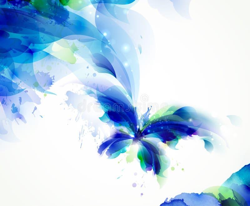 Abstrakcjonistyczny motyl z błękitnymi i cyan kleksami ilustracji
