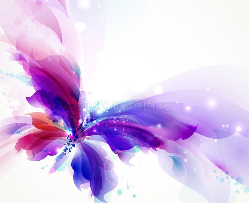 Abstrakcjonistyczny motyl z błękitnymi, purpurowymi i cyan kleksami, ilustracja wektor
