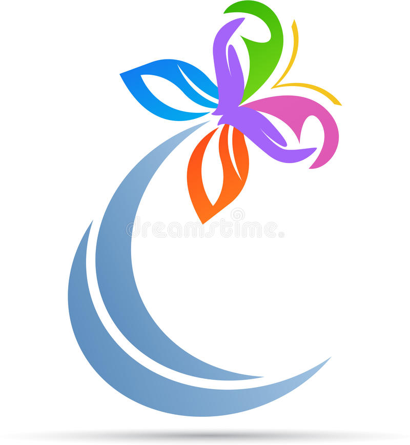 Abstrakcjonistyczny motyli logo ilustracji