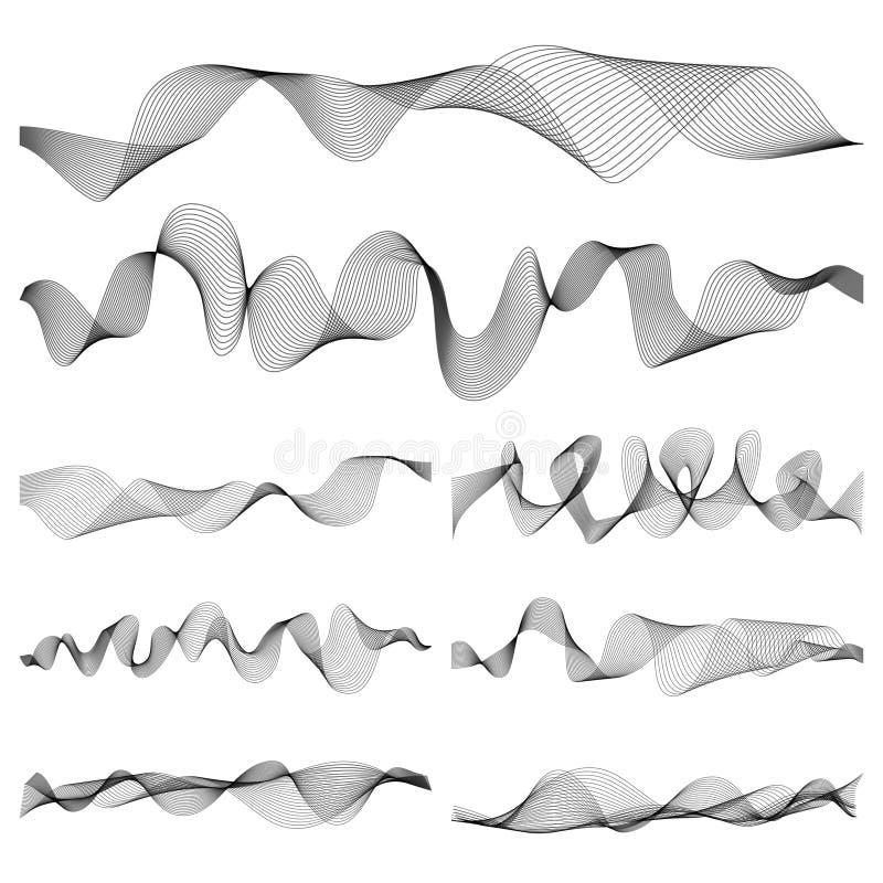 Abstrakcjonistyczny muzyczny rozsądnych fala pulsu wektoru set ilustracji