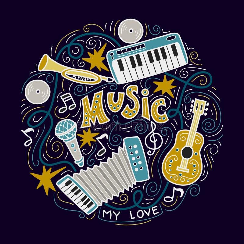 Abstrakcjonistyczny Muzyczny tło, kolaż z instrumentami muzycznymi royalty ilustracja