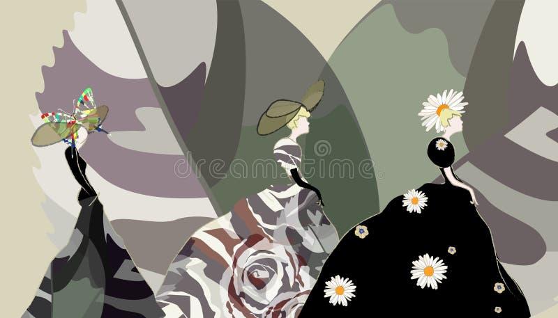 Abstrakcjonistyczny nakreślenie dziewczyny model, suknia, kwiecisty kapelusz, moda tydzień ilustracja wektor