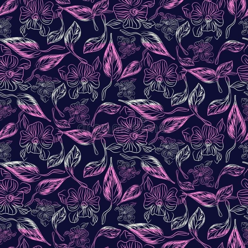 Abstrakcjonistyczny nakreślenie rysujący kwiecisty purpurowy bezszwowy wektoru wzór ilustracja wektor