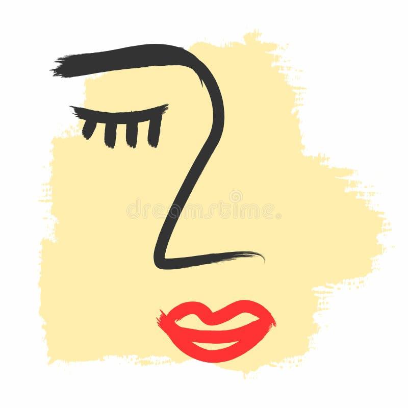 Abstrakcjonistyczny nakre?lenie kobiety twarz Farba, atrament, watercolour ilustracji