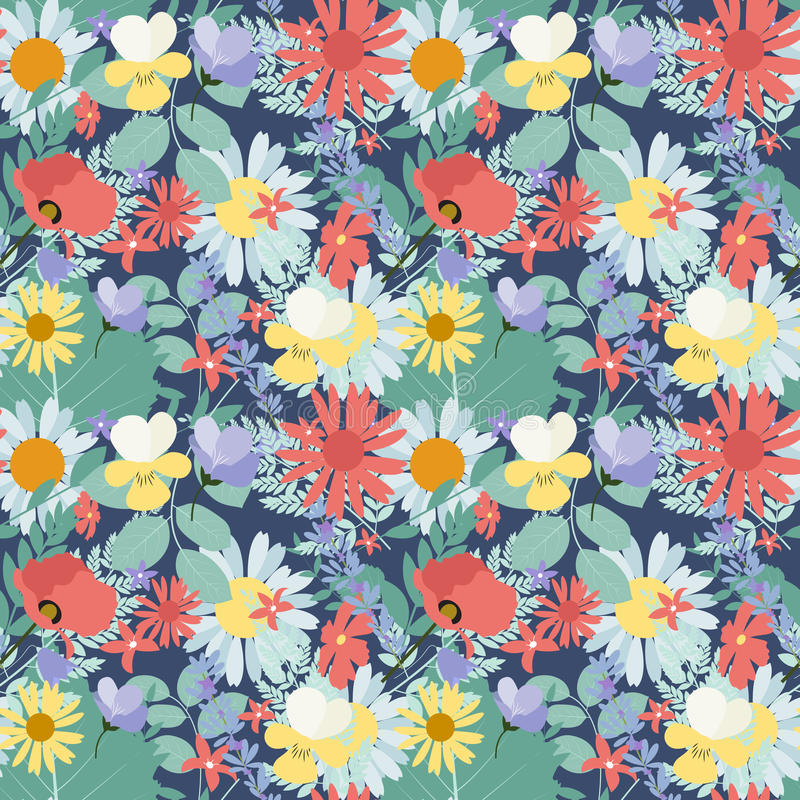 Abstrakcjonistyczny Naturalnej wiosny Bezszwowy Deseniowy tło z kwiatami royalty ilustracja