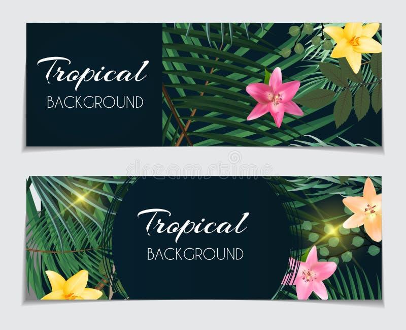 Abstrakcjonistyczny Naturalny Tropikalny prezenta alegat, rabata Karciany tło ilustracji