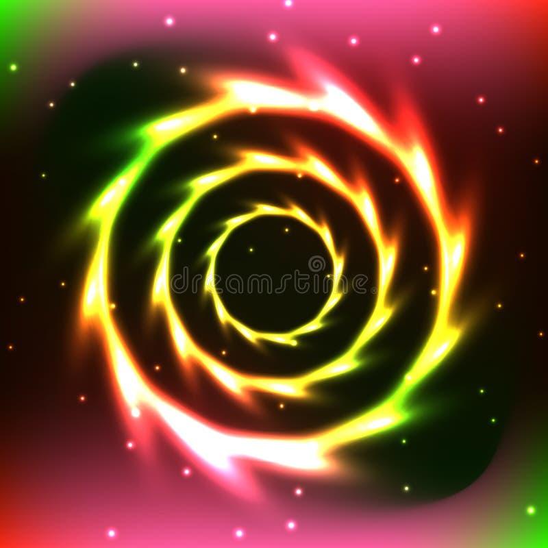 Abstrakcjonistyczny neonowy koloru koło royalty ilustracja