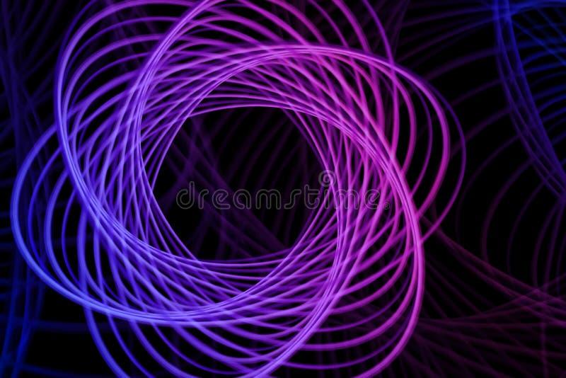 Abstrakcjonistyczny neonowy kształt, futurystyczny falisty fractal tło Wektorowa geometryczna ilustracja ilustracja wektor