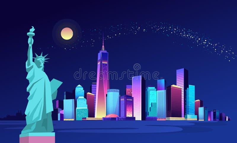 Abstrakcjonistyczny neonowy miasto royalty ilustracja