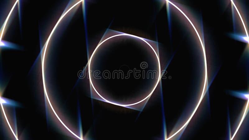 Abstrakcjonistyczny neonowy tło z białymi rozjarzonymi okrąg ramami poszerza na czarnym tle, bezszwowa pętla animacja neon ilustracji