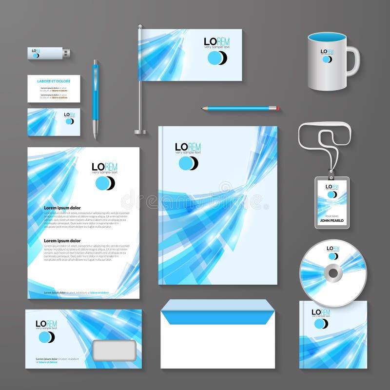 Abstrakcjonistyczny niebieskiej linii korporacyjnej tożsamości szablon Wektorowy firma styl dla brandbook i wytyczna ilustracji