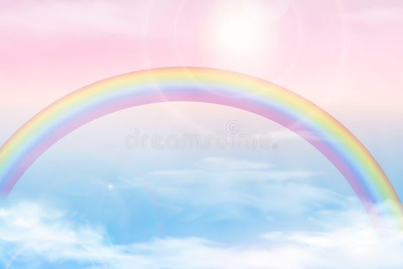 Abstrakcjonistyczny niebo z kolor chmurami Słońca i chmur tło z miękkim pastelowym kolorem Fantazi magiczny krajobrazowy tło ilustracja wektor