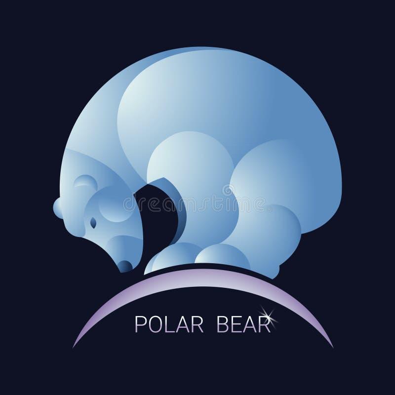 Abstrakcjonistyczny niedźwiedź polarny Minimalisty styl Wektorowy błękit tło ilustracja wektor
