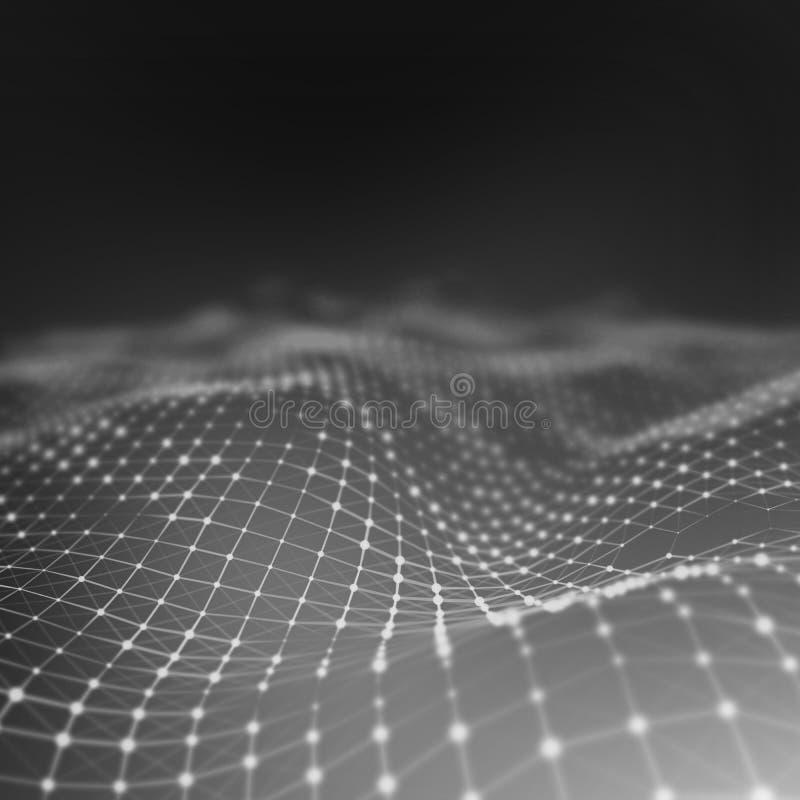 Abstrakcjonistyczny niski poli- tło Plexus poligonalny tło Plexus niski poli- krajobrazowy tło 3D wireframe plexus obrazy stock
