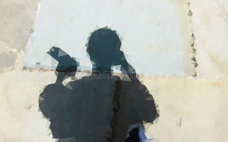 Abstrakcjonistyczny niski wieloboka cień na ścianie fotografia stock