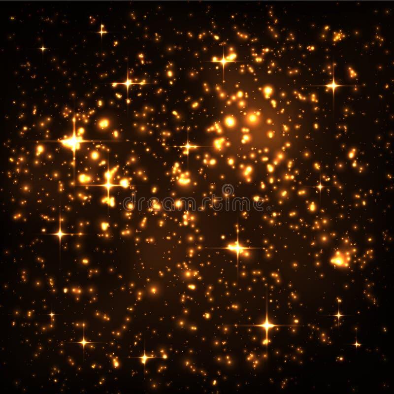 Abstrakcjonistyczny nocne niebo z Złotym Gwiazdowym gronem i Rozjarzonymi cząsteczkami ilustracja wektor