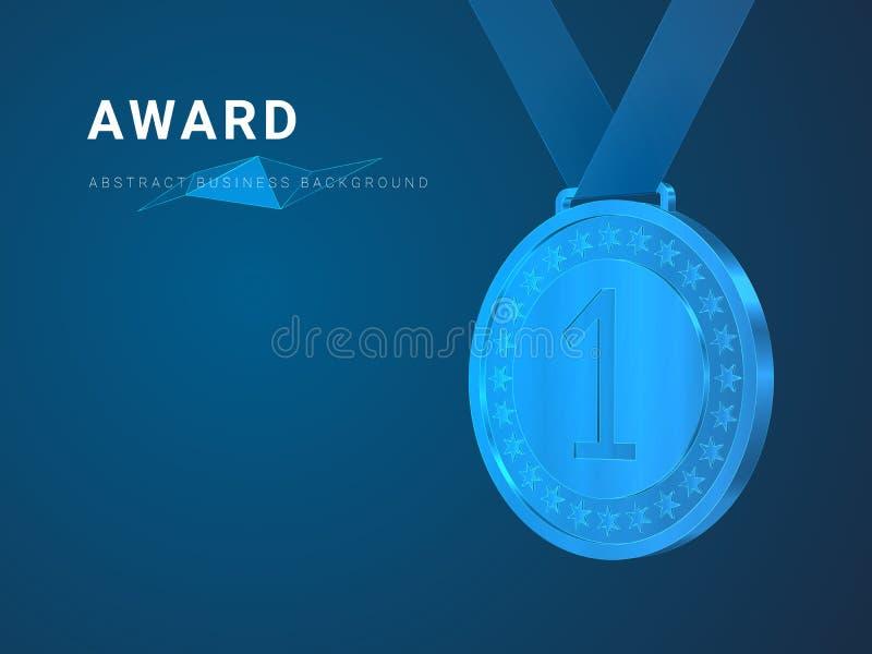 Abstrakcjonistyczny nowożytny biznesowy tło wektor przedstawia nagrodę w kształcie pierwszy miejsca złoty medal na błękitnym tle royalty ilustracja