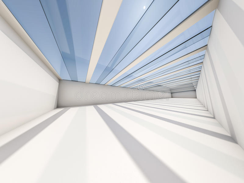 Abstrakcjonistyczny nowożytny architektury tło, pusta biała otwarta przestrzeń ilustracja wektor