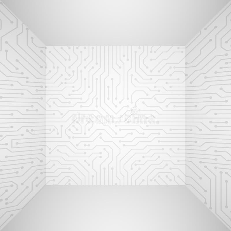 Abstrakcjonistyczny nowożytny biały technologii 3d wektorowy tło z obwód deski wzorem Ewidencyjny techniki firmy pojęcie ilustracji