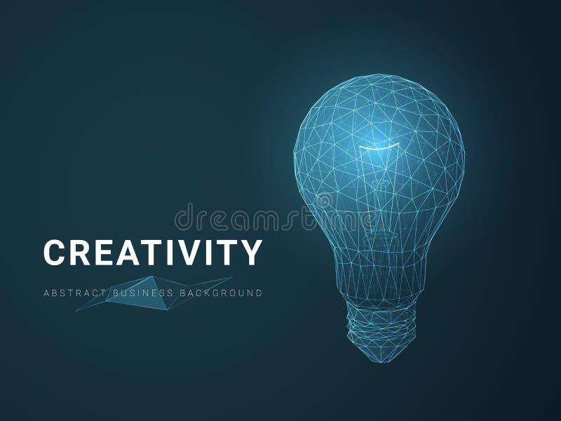 Abstrakcjonistyczny nowożytny biznesowy tło wektor przedstawia twórczość z gwiazdami i liniami w kształcie żarówka na błękitnym t ilustracja wektor