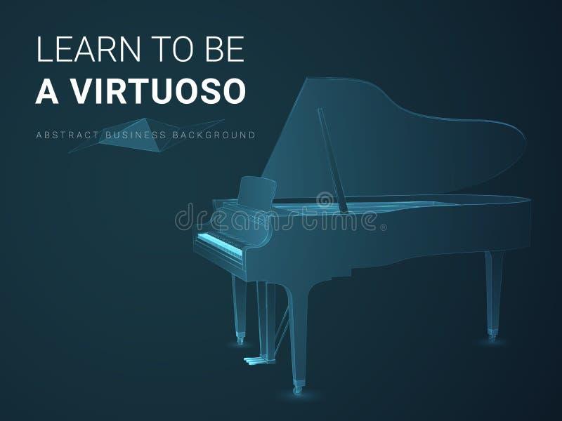 Abstrakcjonistyczny nowożytny biznesowy tło wektor przedstawia wirtuozerię w kształcie uroczysty pianino na błękitnym tle royalty ilustracja