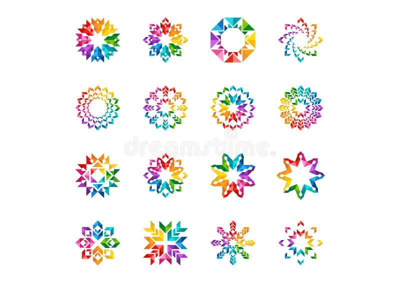 Abstrakcjonistyczny nowożytny elementu logo, okrąg tęczy kwiaty, set round kwiecisty, gwiazdy, strzała i słońce symbolu ikony wek royalty ilustracja