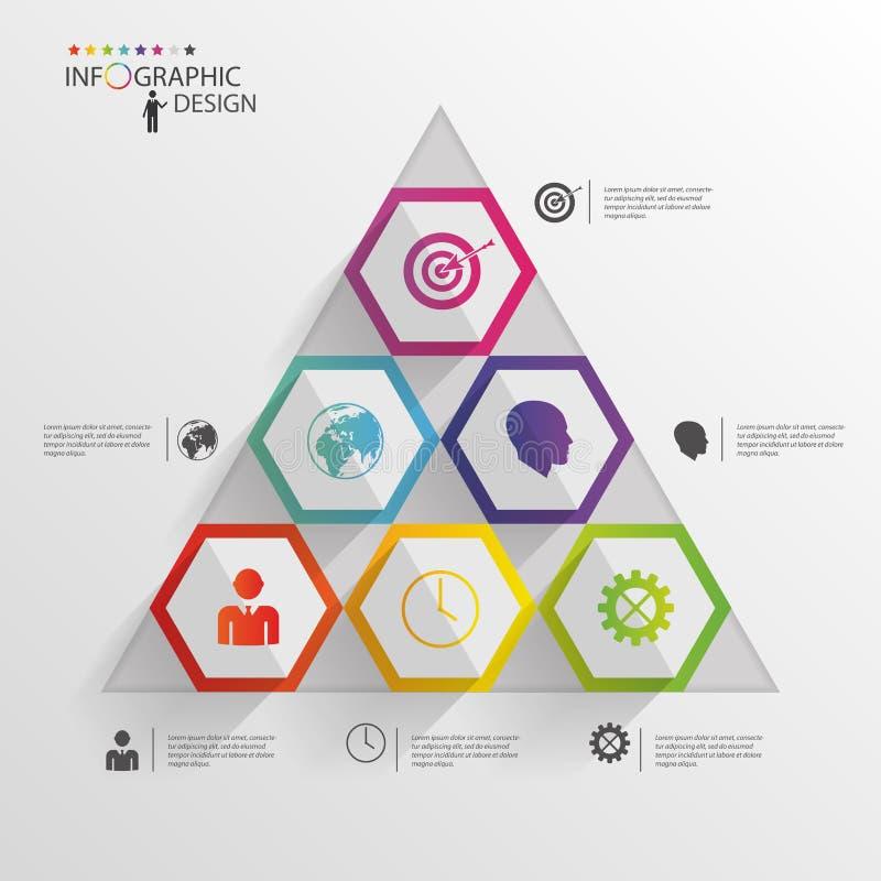 Abstrakcjonistyczny nowożytny heksagonalny infographic 3d cyfrowa ilustracja royalty ilustracja