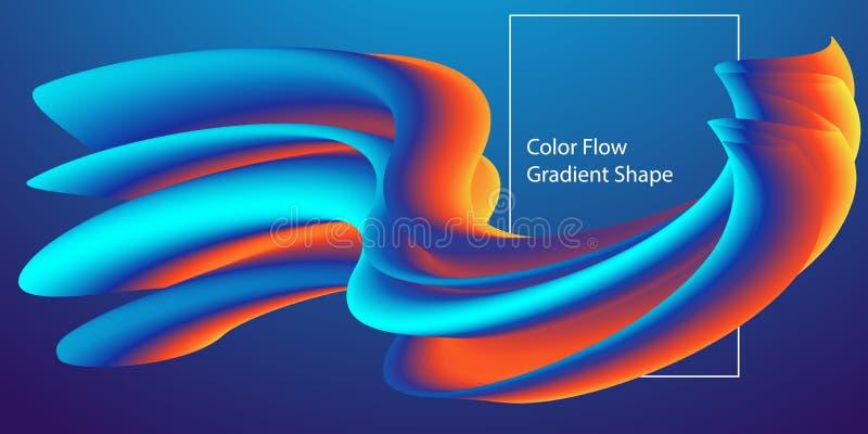 Abstrakcjonistyczny Nowożytny koloru przepływu kształta szablon, Ciekły kolorowy gradientowy tło r?wnie? zwr?ci? corel ilustracji royalty ilustracja