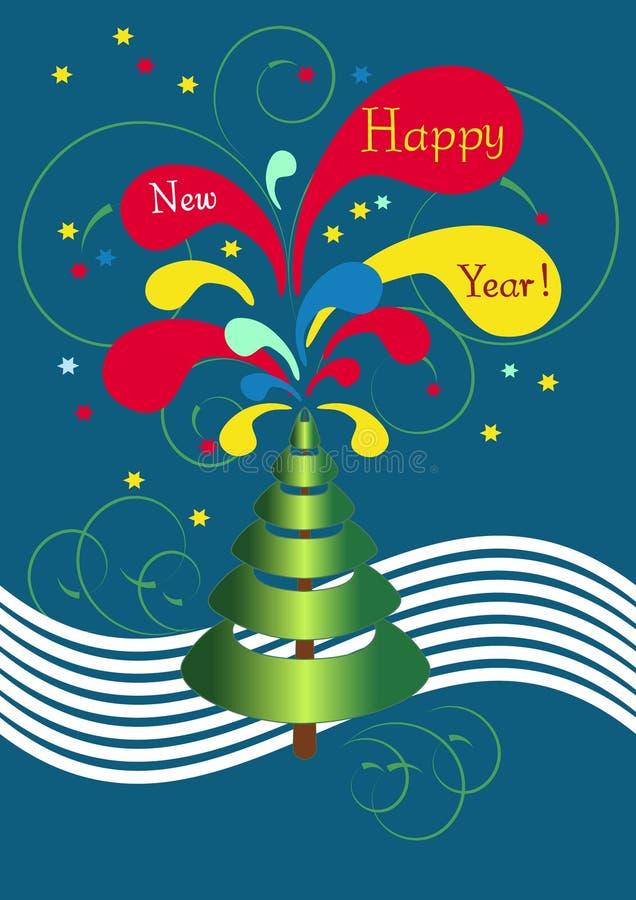 abstrakcjonistyczny nowy pocztówki s drzewa rok ilustracji