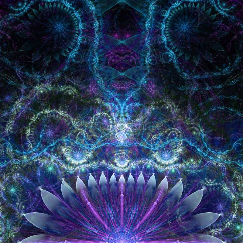 Abstrakcjonistyczny obcy egzotyczny kwiatu tło z dekoracyjnym czułkiem lubi kwiatu wzór, wszystko w błyszczeć błękit, menchia, pu obraz royalty free
