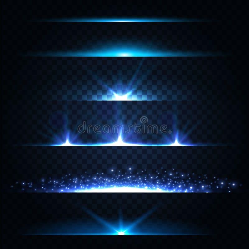 Abstrakcjonistyczny obiektyw Migocze kolekcję rozjarzone gwiazdy Światła i Błyskają na Przejrzystym tle Błyszczeć granicy wektor royalty ilustracja