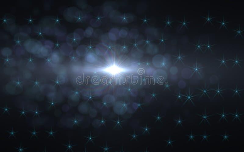 Abstrakcjonistyczny obiektywu racy światło nad czarnym tłem ilustracja wektor
