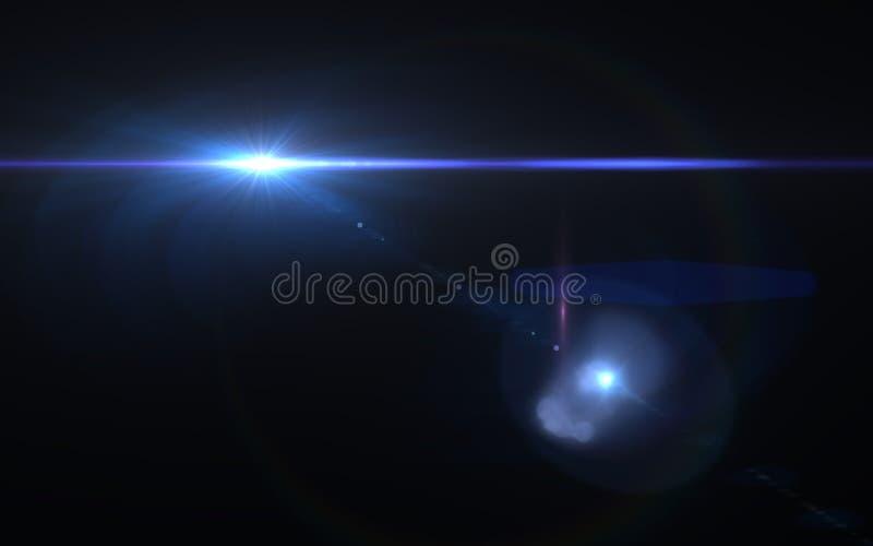 Abstrakcjonistyczny obiektywu racy skutek w przestrzeni z horyzontalnym czarnym backgr ilustracji