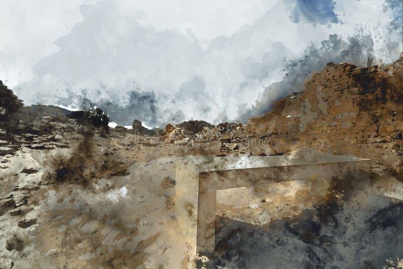 Abstrakcjonistyczny obraz antyczny miasto w rocznika brzmieniu ilustracji